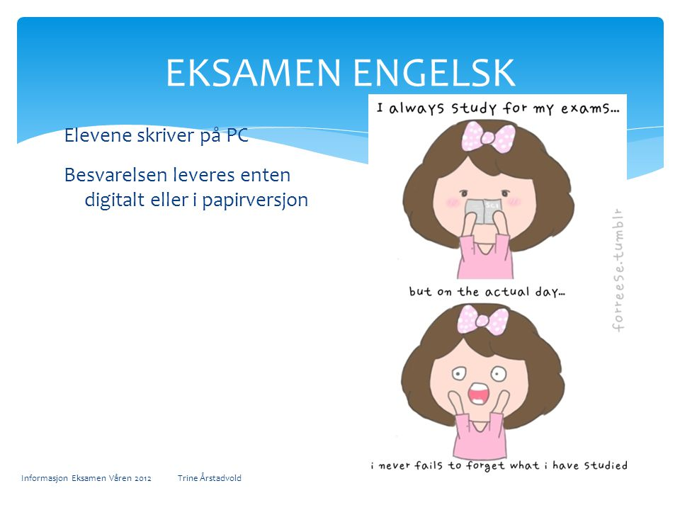 EKSAMEN ENGELSK Elevene skriver på PC