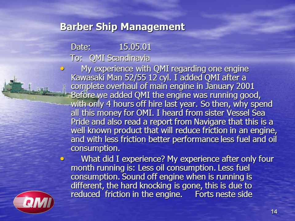 Barber Ship Management Date: 15.05.01