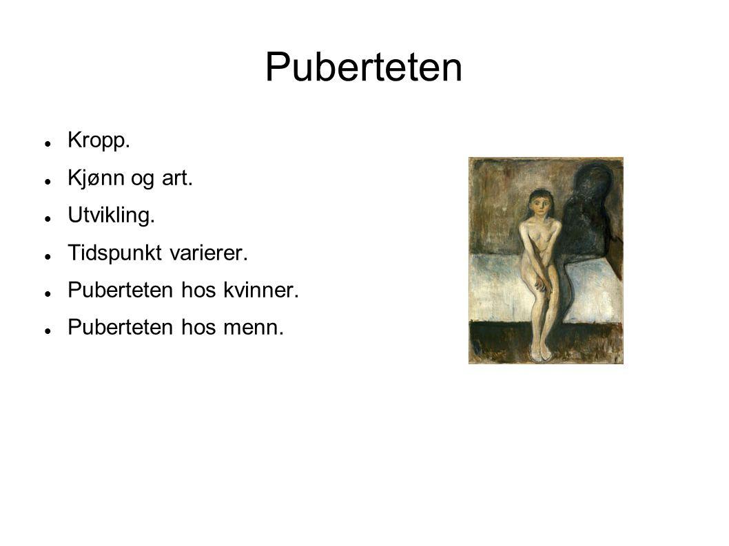 Puberteten Kropp. Kjønn og art. Utvikling. Tidspunkt varierer.