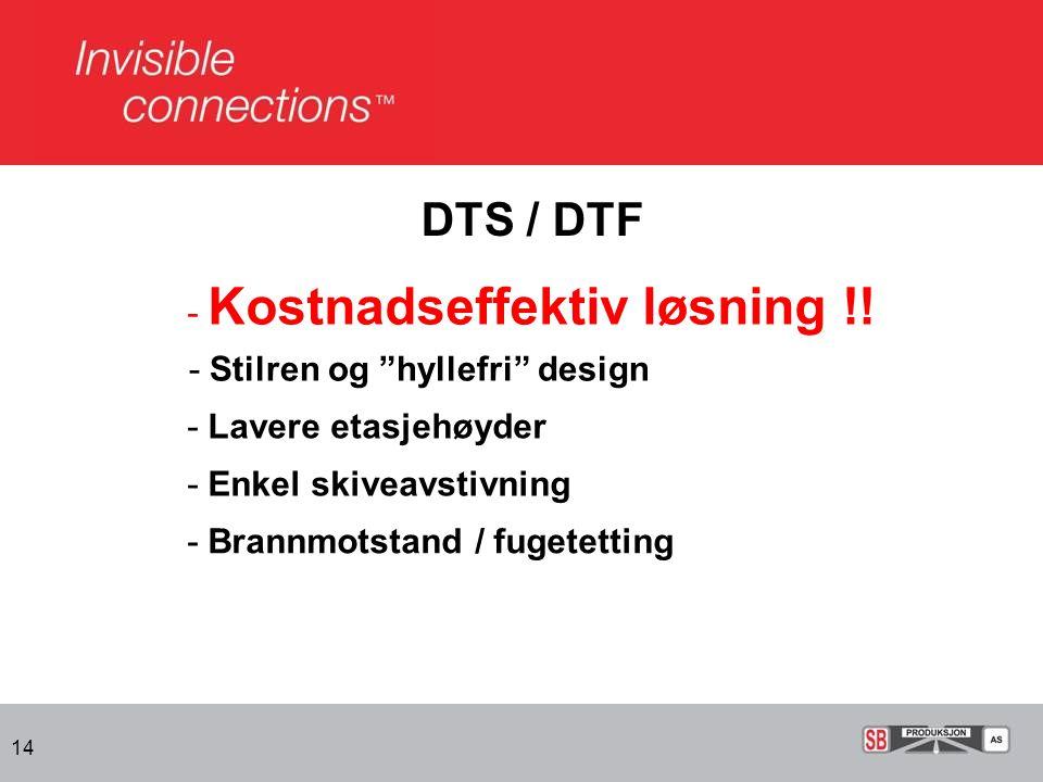 DTS / DTF - Kostnadseffektiv løsning !! - Stilren og hyllefri design