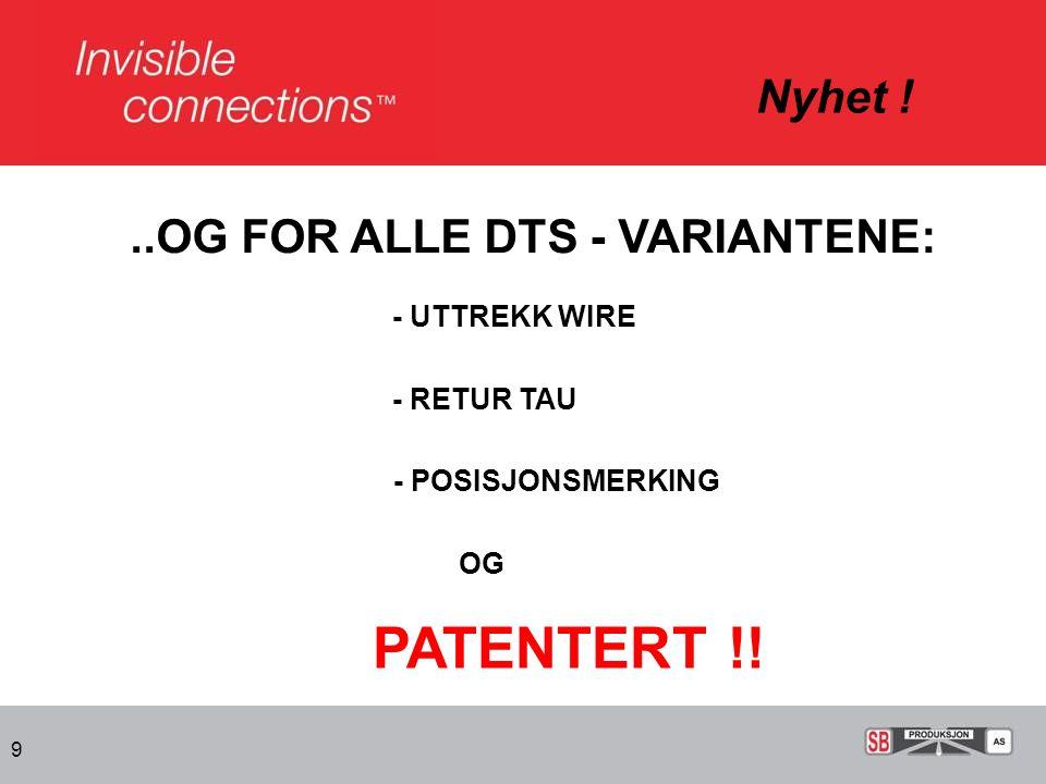PATENTERT !! Nyhet ! ..OG FOR ALLE DTS - VARIANTENE: - UTTREKK WIRE