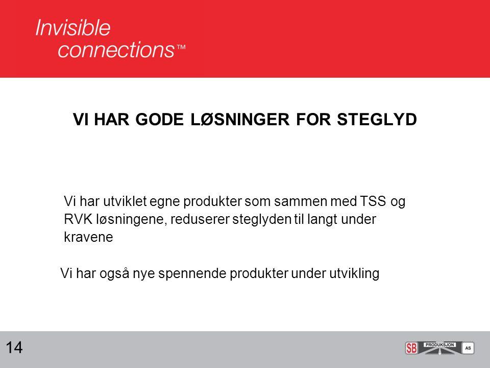 VI HAR GODE LØSNINGER FOR STEGLYD