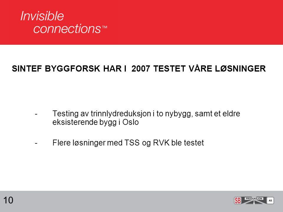 SINTEF BYGGFORSK HAR I 2007 TESTET VÅRE LØSNINGER