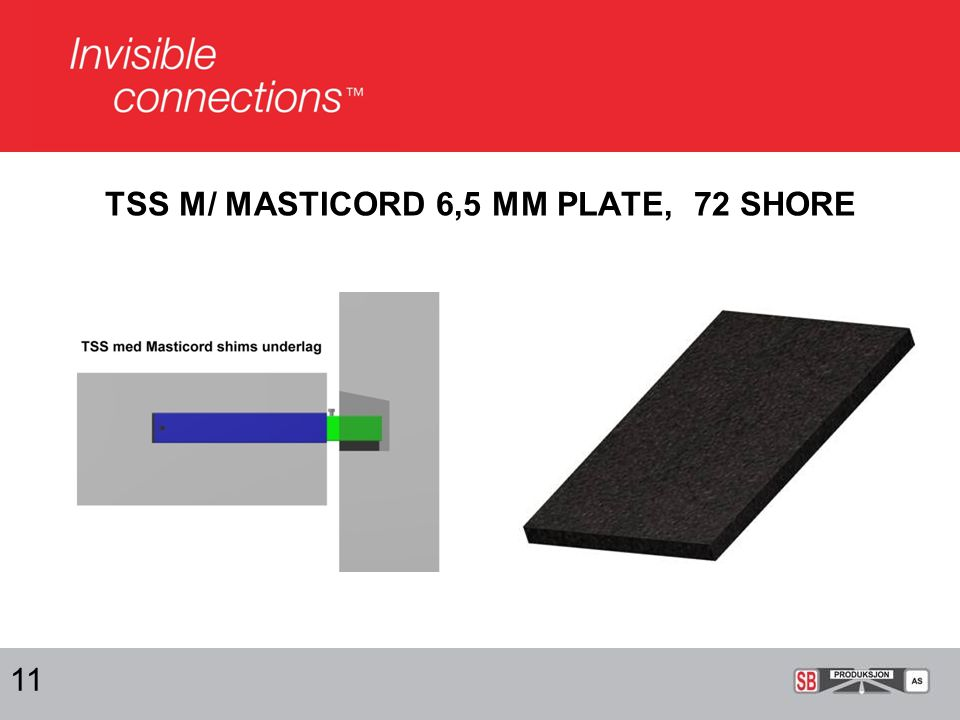 TSS M/ MASTICORD 6,5 MM PLATE, 72 SHORE