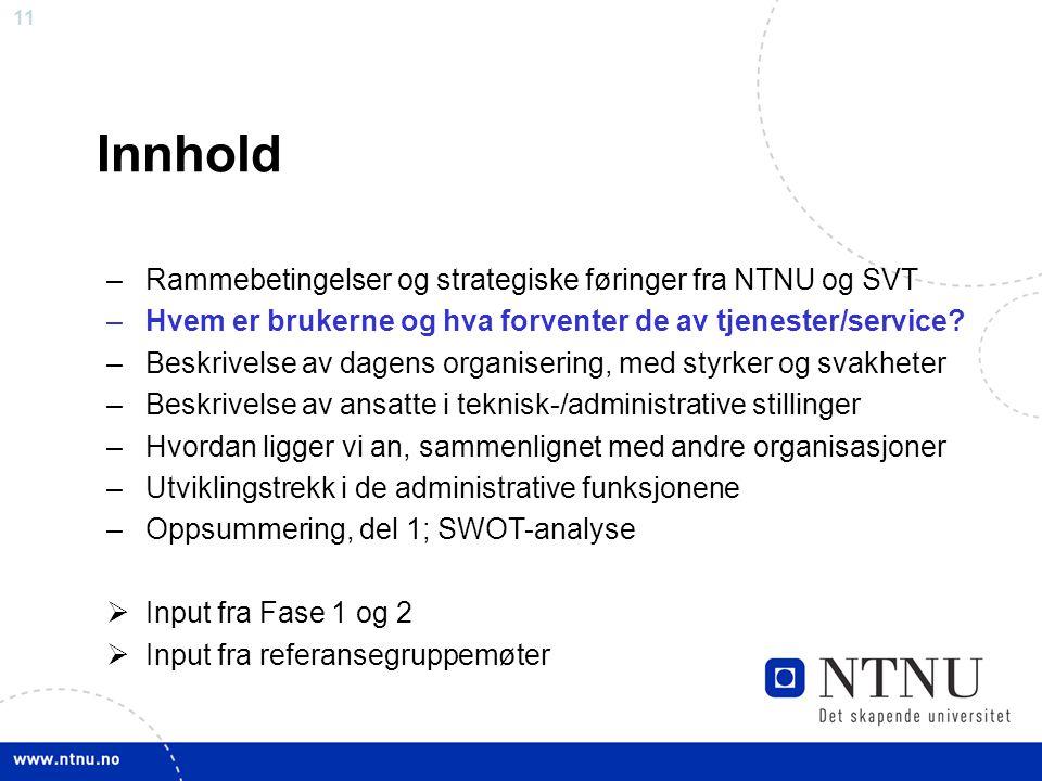 Innhold Rammebetingelser og strategiske føringer fra NTNU og SVT