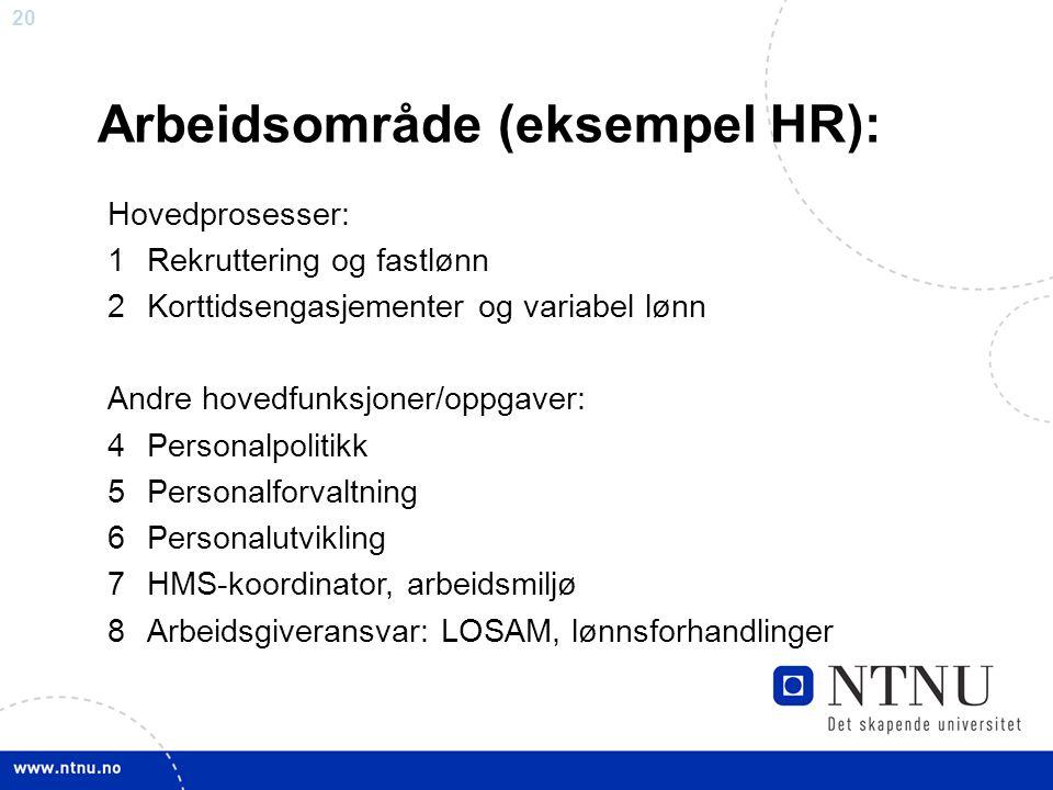 Arbeidsområde (eksempel HR):