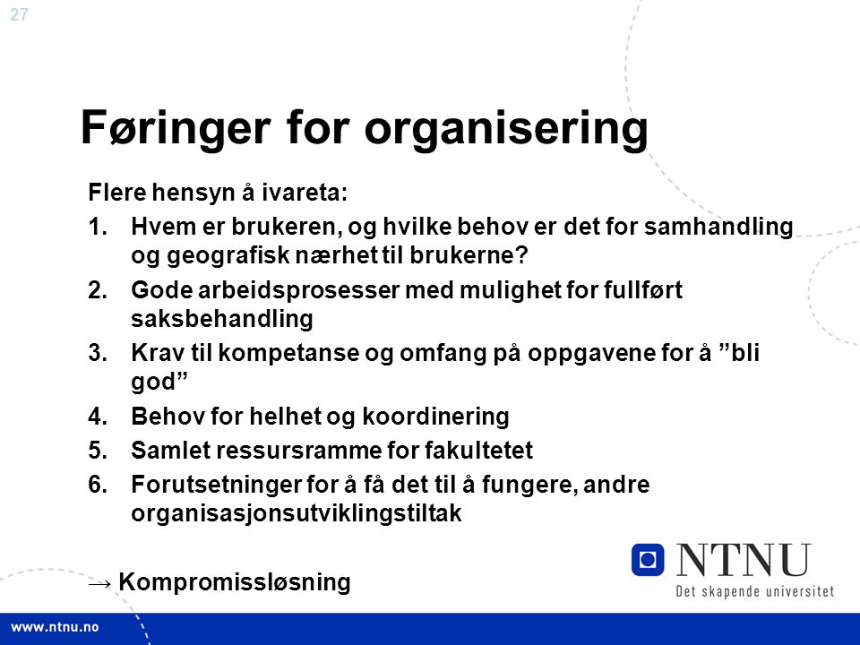Føringer for organisering