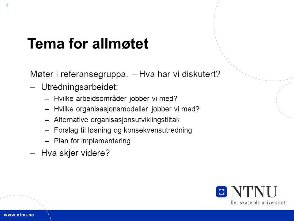 Tema for allmøtet Møter i referansegruppa. – Hva har vi diskutert