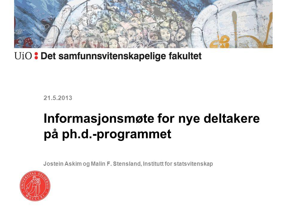 Informasjonsmøte for nye deltakere på ph.d.-programmet