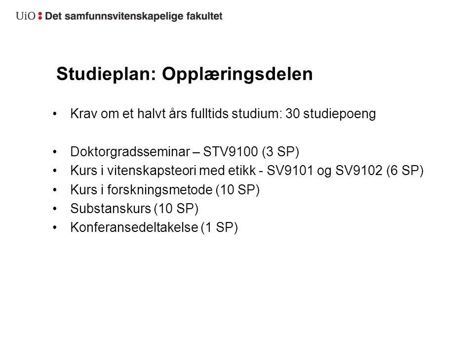 Studieplan: Opplæringsdelen