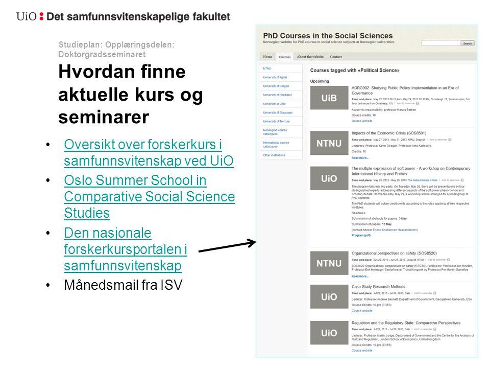 Oversikt over forskerkurs i samfunnsvitenskap ved UiO