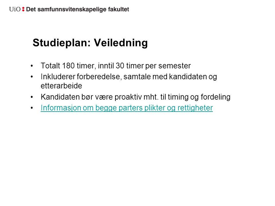 Studieplan: Veiledning