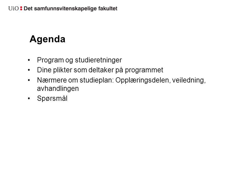 Agenda Program og studieretninger