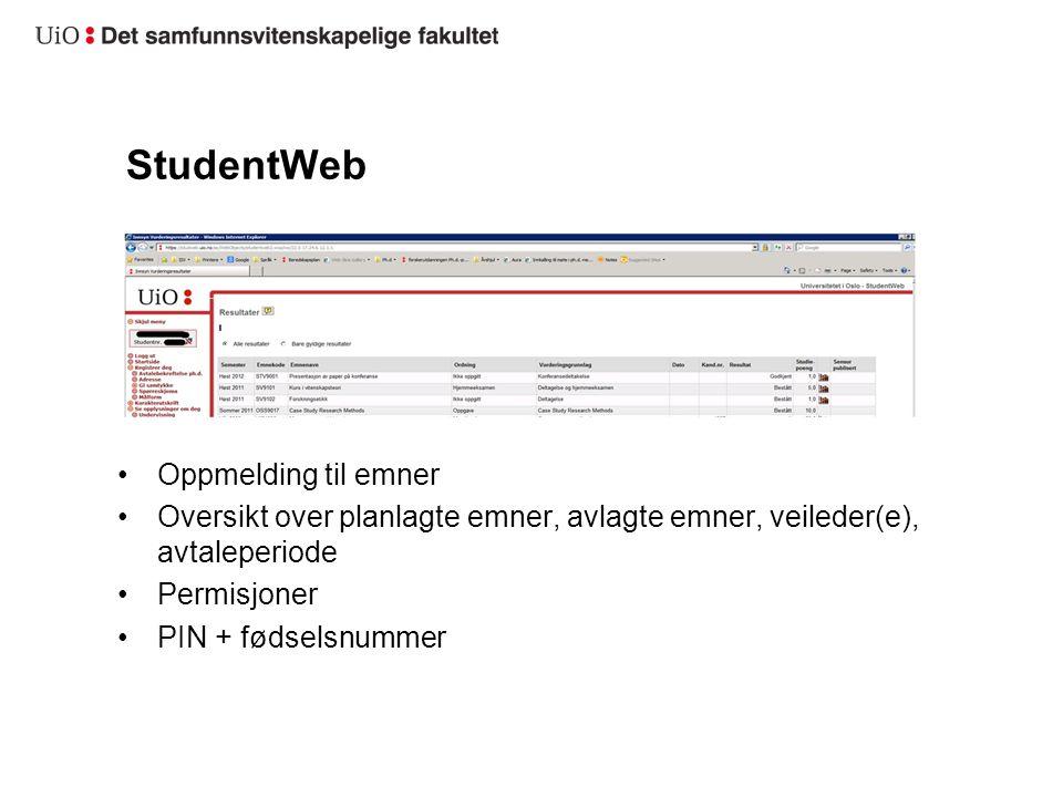 StudentWeb Oppmelding til emner