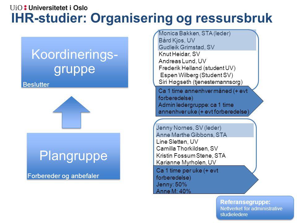 IHR-studier: Organisering og ressursbruk