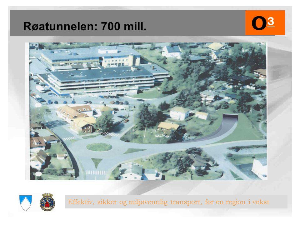 O3 Røatunnelen: 700 mill. Effektiv, sikker og miljøvennlig transport, for en region i vekst