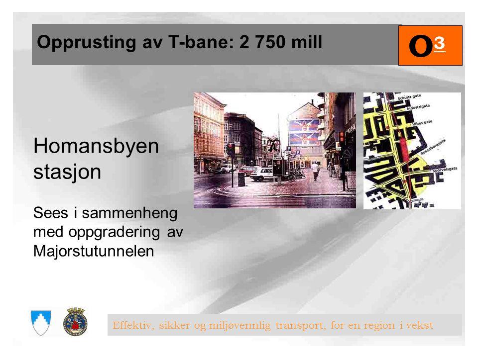 O3 Homansbyen stasjon Opprusting av T-bane: 2 750 mill