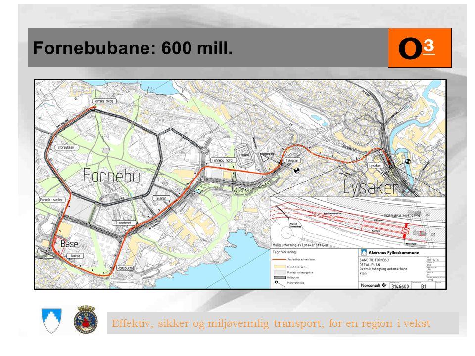 Fornebubane: 600 mill. O3 Effektiv, sikker og miljøvennlig transport, for en region i vekst