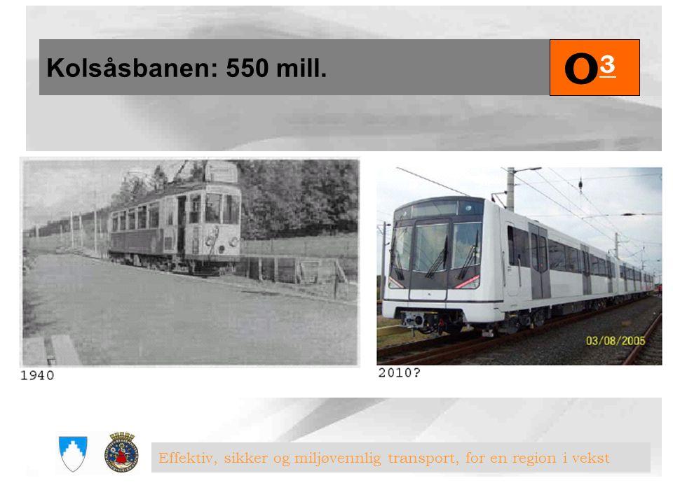 Kolsåsbanen: 550 mill. O3 Effektiv, sikker og miljøvennlig transport, for en region i vekst