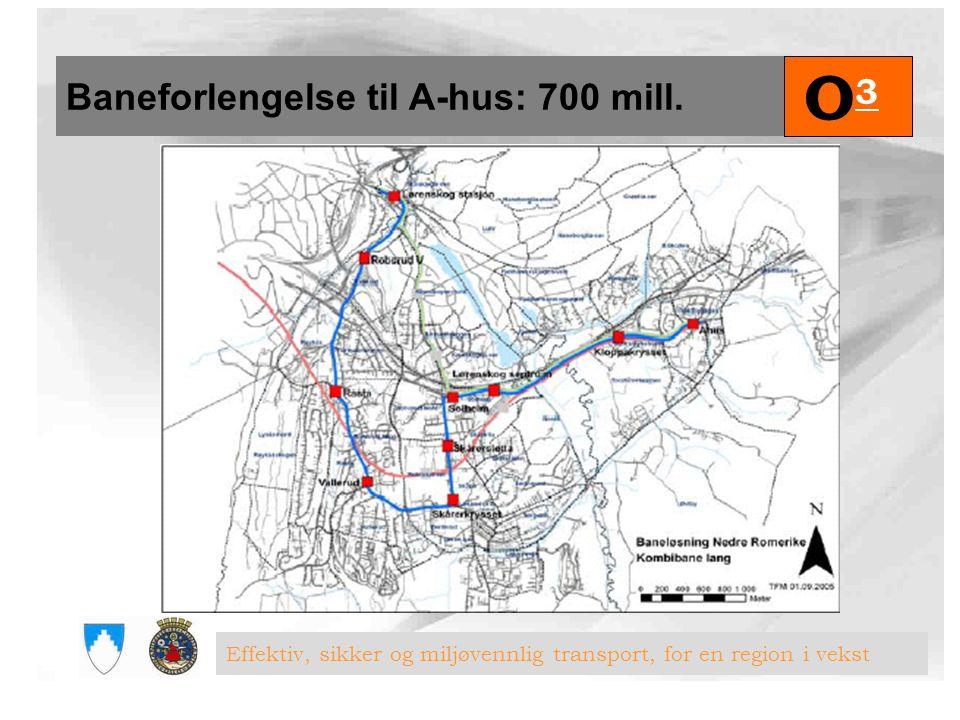O3 Baneforlengelse til A-hus: 700 mill.