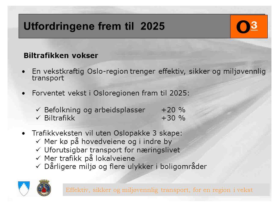 O3 Utfordringene frem til 2025 Biltrafikken vokser