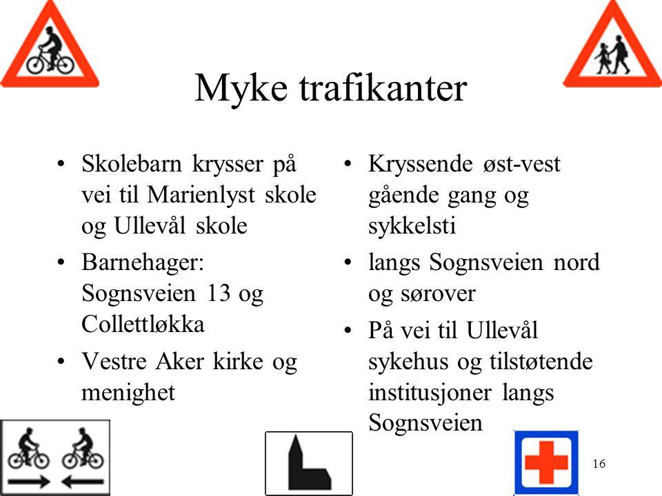 Myke trafikanter Skolebarn krysser på vei til Marienlyst skole og Ullevål skole. Barnehager: Sognsveien 13 og Collettløkka.