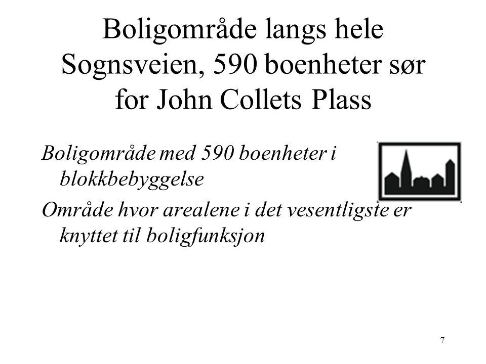 Boligområde langs hele Sognsveien, 590 boenheter sør for John Collets Plass