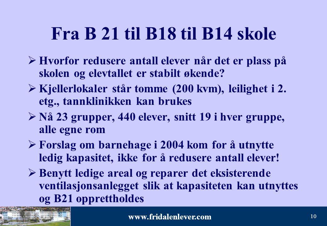 Fra B 21 til B18 til B14 skole Hvorfor redusere antall elever når det er plass på skolen og elevtallet er stabilt økende