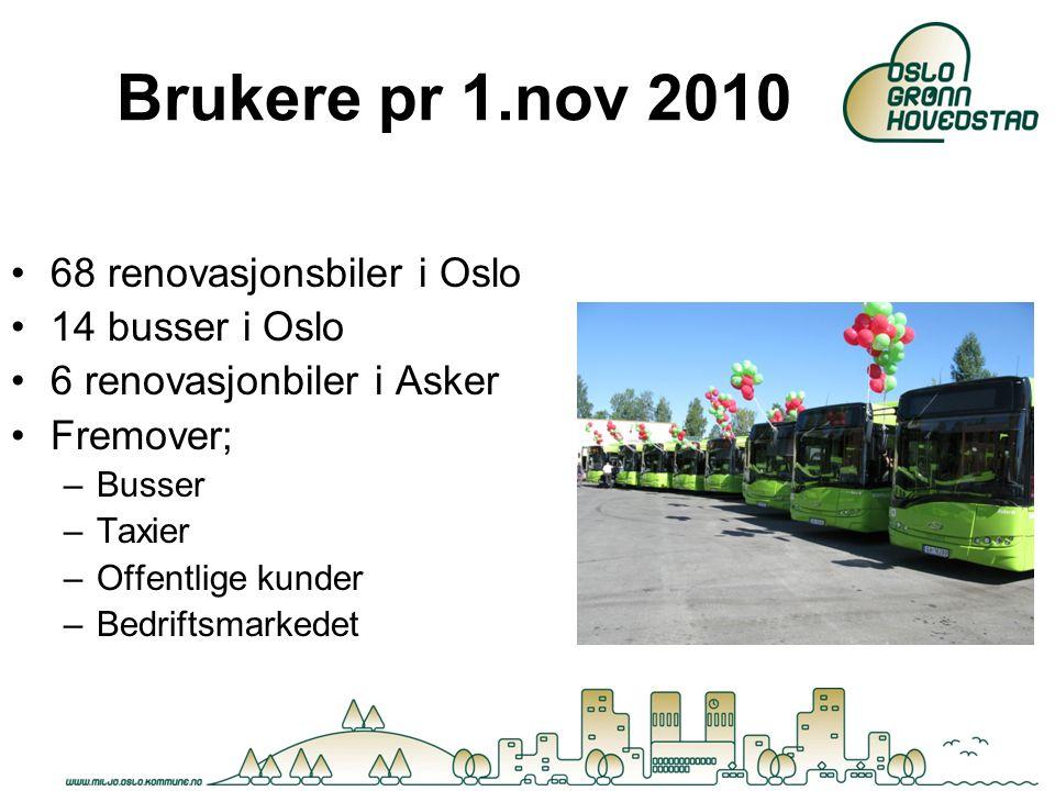 Brukere pr 1.nov 2010 68 renovasjonsbiler i Oslo 14 busser i Oslo