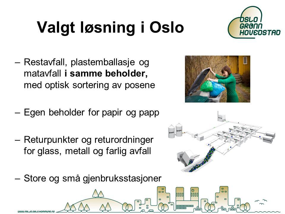 Valgt løsning i Oslo Restavfall, plastemballasje og matavfall i samme beholder, med optisk sortering av posene.