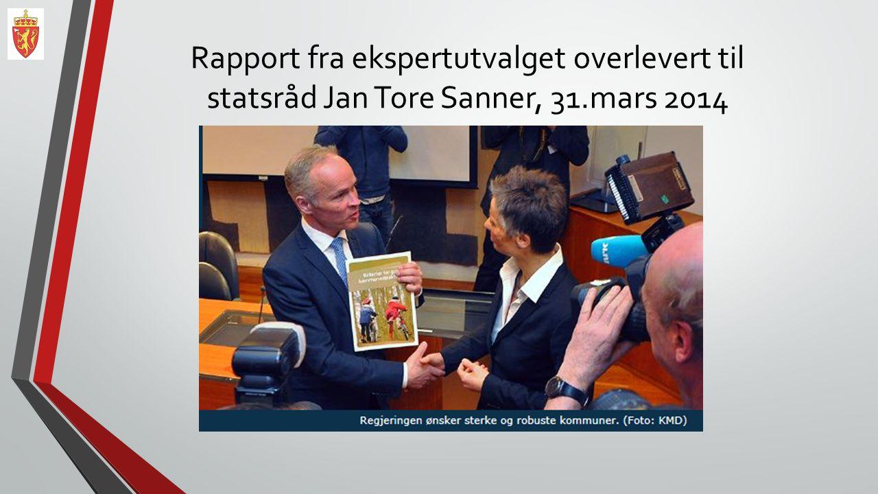 Rapport fra ekspertutvalget overlevert til statsråd Jan Tore Sanner, 31.mars 2014