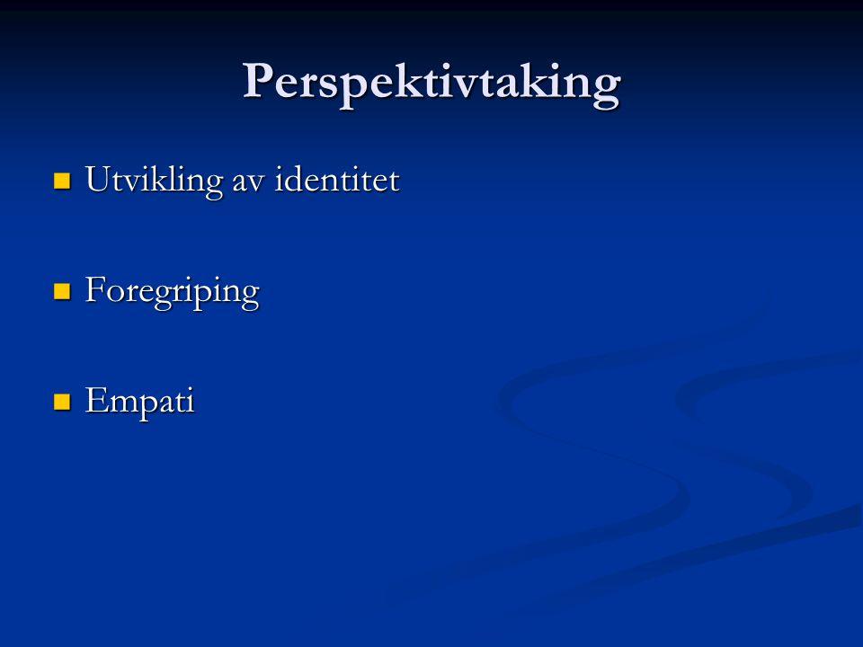 Perspektivtaking Utvikling av identitet Foregriping Empati