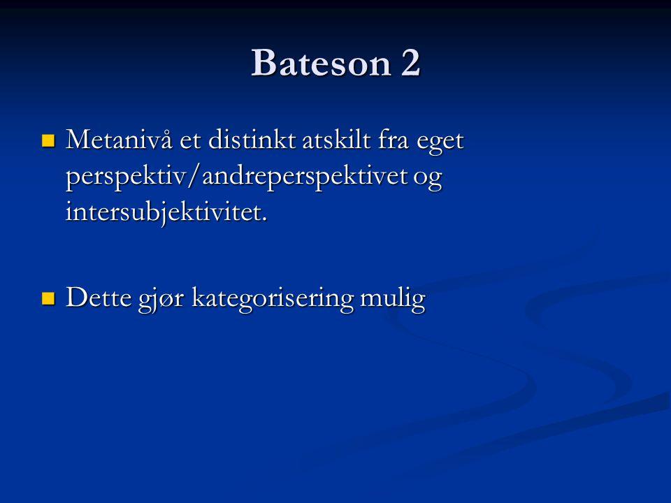 Bateson 2 Metanivå et distinkt atskilt fra eget perspektiv/andreperspektivet og intersubjektivitet.
