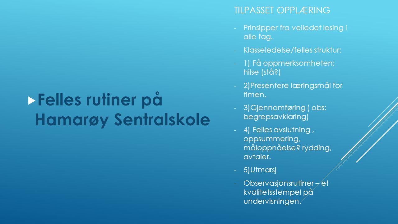Felles rutiner på Hamarøy Sentralskole