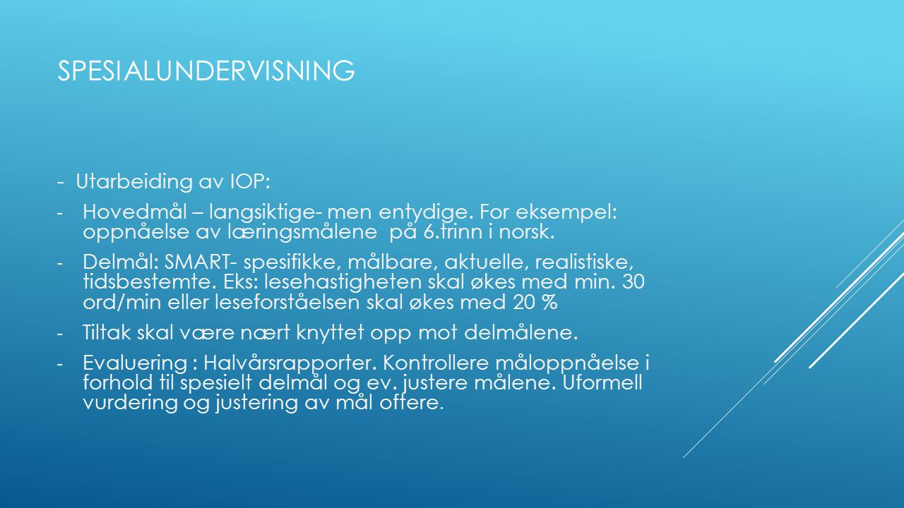 spesialundervisning - Utarbeiding av IOP: