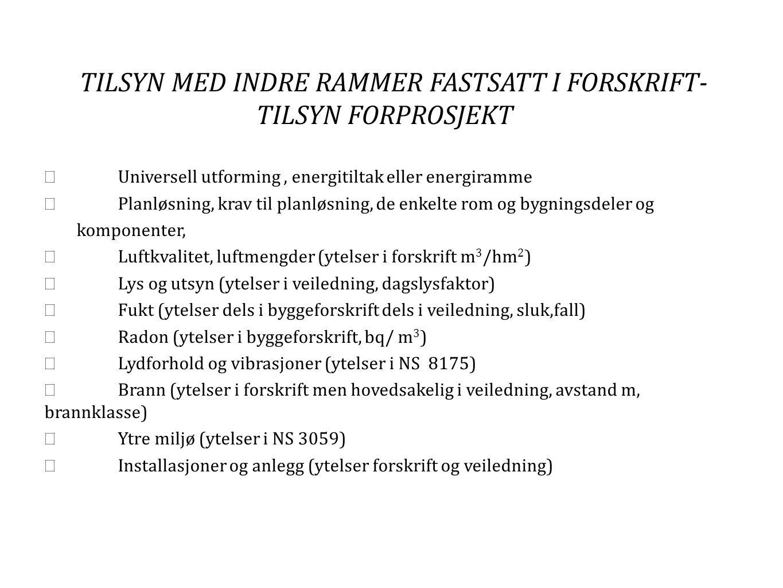 TILSYN MED INDRE RAMMER FASTSATT I FORSKRIFT- TILSYN FORPROSJEKT
