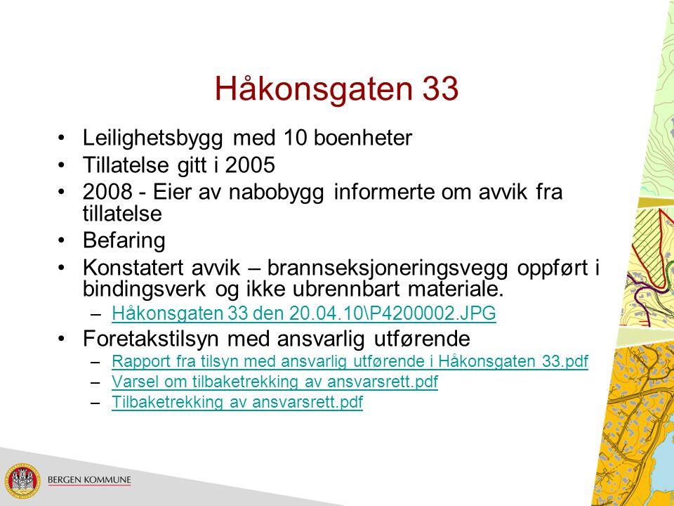 Håkonsgaten 33 Leilighetsbygg med 10 boenheter Tillatelse gitt i 2005