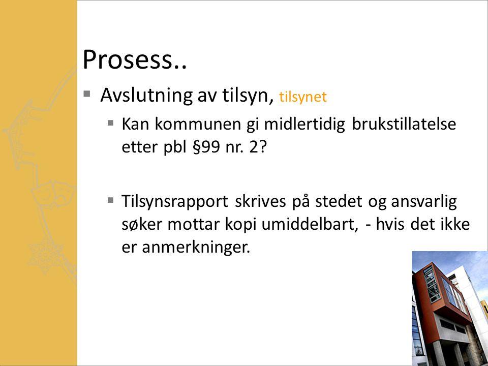 Prosess.. Avslutning av tilsyn, tilsynet