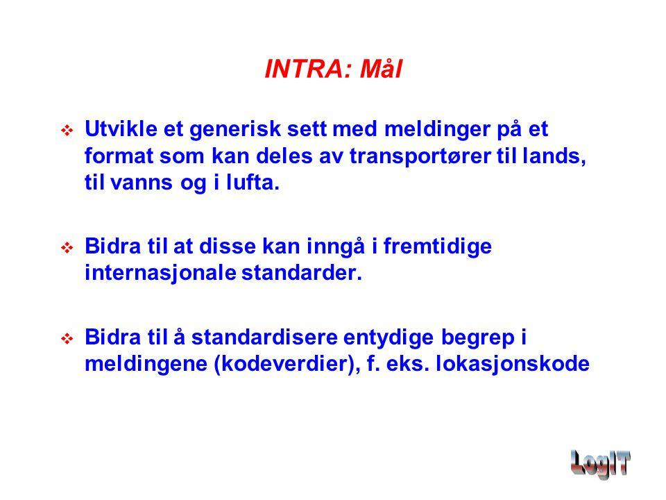 INTRA: Mål Utvikle et generisk sett med meldinger på et format som kan deles av transportører til lands, til vanns og i lufta.