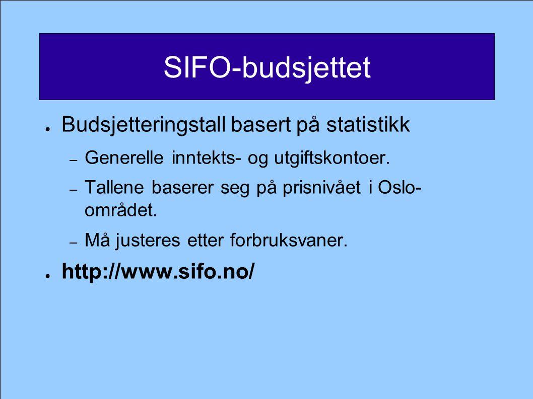SIFO-budsjettet Budsjetteringstall basert på statistikk