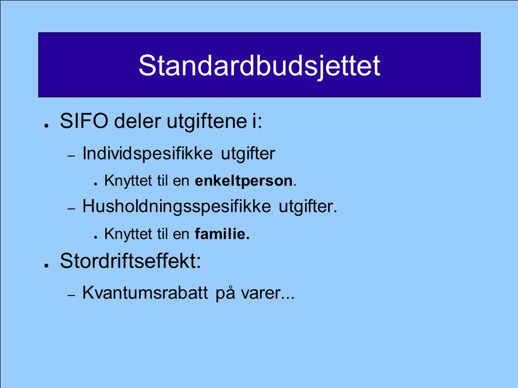 Standardbudsjettet SIFO deler utgiftene i: Stordriftseffekt: