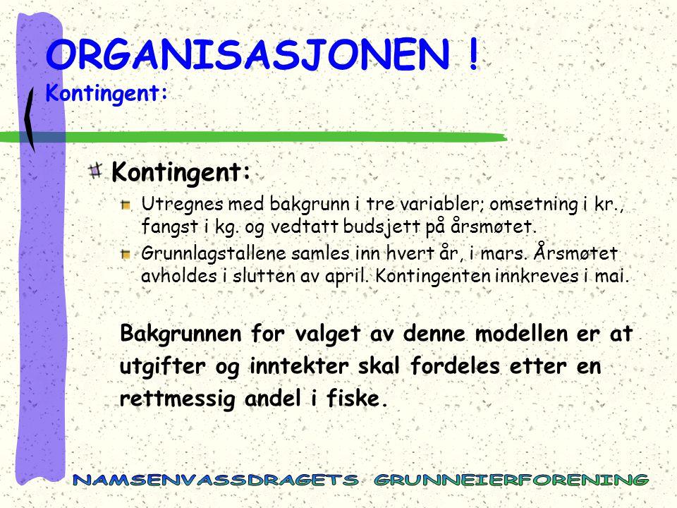 ORGANISASJONEN ! Kontingent: