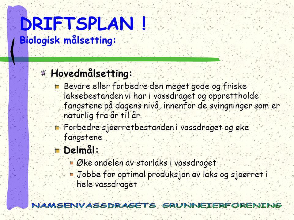DRIFTSPLAN ! Biologisk målsetting: