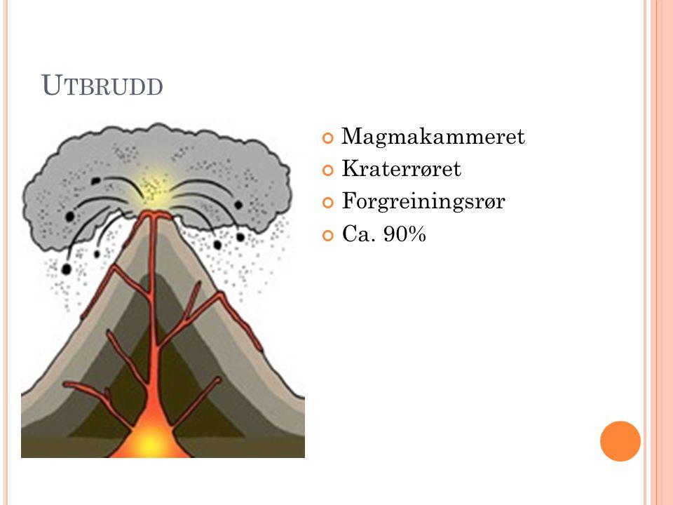 Utbrudd Magmakammeret Kraterrøret Forgreiningsrør Ca. 90%