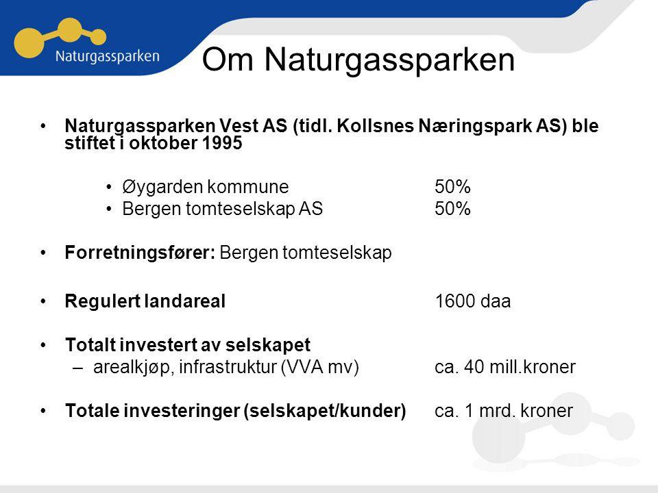 Om Naturgassparken Naturgassparken Vest AS (tidl. Kollsnes Næringspark AS) ble stiftet i oktober 1995.