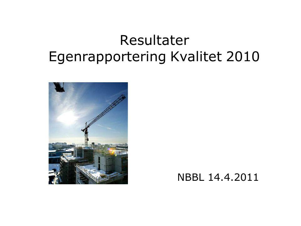 Resultater Egenrapportering Kvalitet 2010