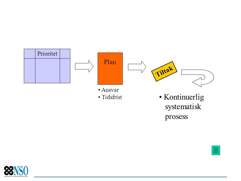 Kontinuerlig systematisk prosess Plan Tiltak Prioritet Ansvar