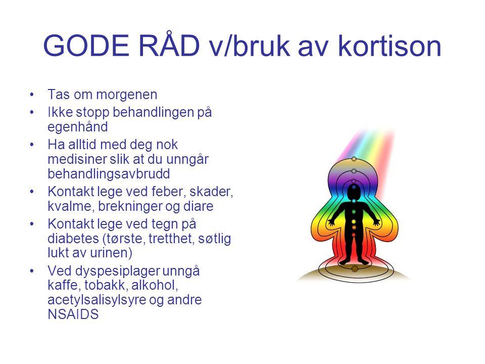 GODE RÅD v/bruk av kortison