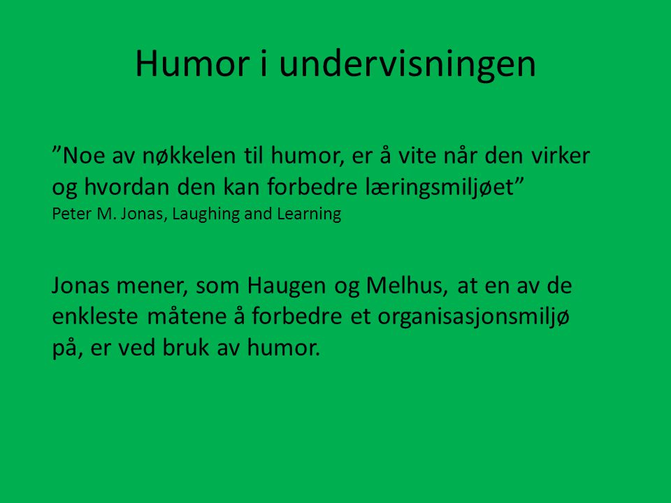 Humor i undervisningen