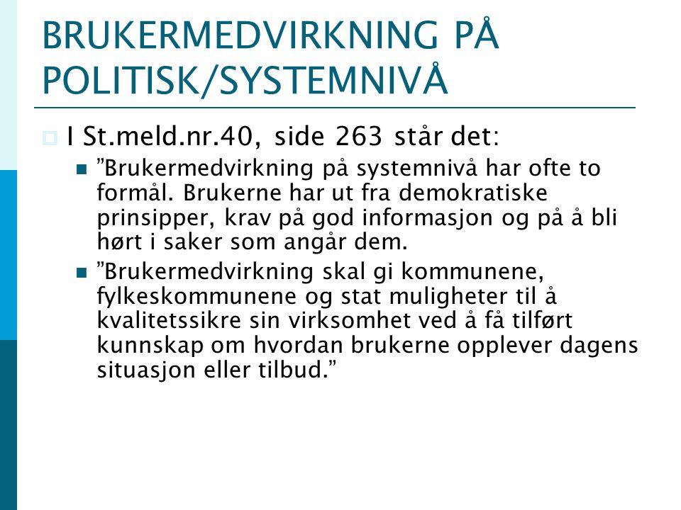 BRUKERMEDVIRKNING PÅ POLITISK/SYSTEMNIVÅ